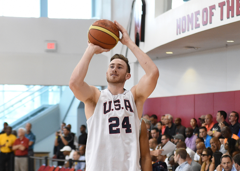 LAS VEGAS, NV - AUGUST 11: Gordon Hayward of the USA National Team participates in a minicamp at UNLV on August 11, 2015 in Las Vegas, Nevada. NOTE TO USER: User expressly acknowledges and agrees that, by downloading and/or using this Photograph, user is consenting to the terms and conditions of the Getty Images License Agreement. Mandatory Copyright Notice: Copyright 2015 NBAE (Photo by Adam Pantozzi/NBAE via Getty Images)
